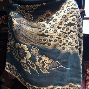 Vintage style Blue peacock pashmina shawl